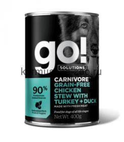 Go! консервы беззерновые с тушеной курицей, индейкой и мясом утки для собак