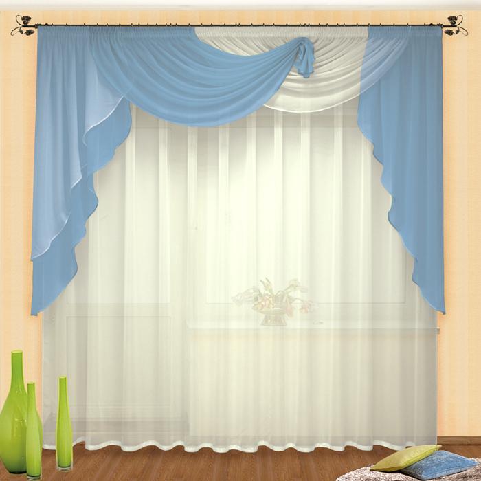 Комплект штор № 046, ламбрекен 130*620+тюль 250*500 голубой