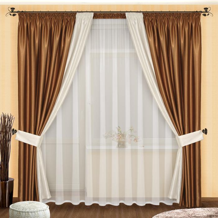 Комплект штор № 048, 250*500,(250*200)*2, шоколадно-белый