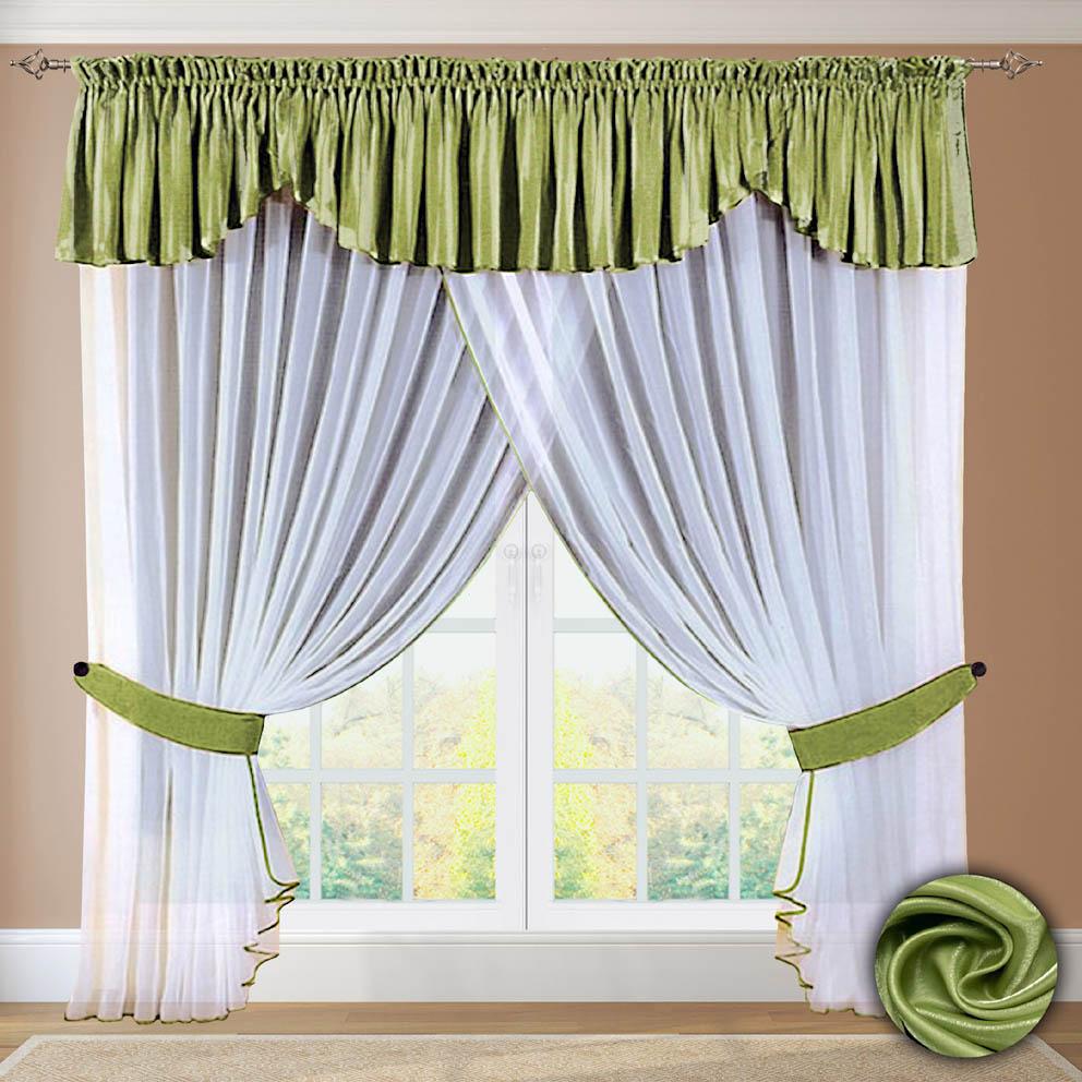 Комплект штор № 052, 250х500+(45х500) зеленый
