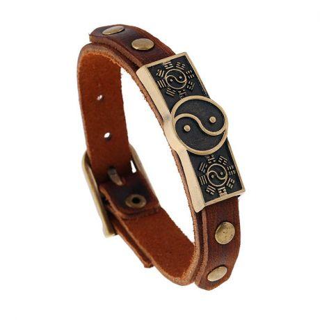Кожаный браслет Инь-Ян, 198х14 мм