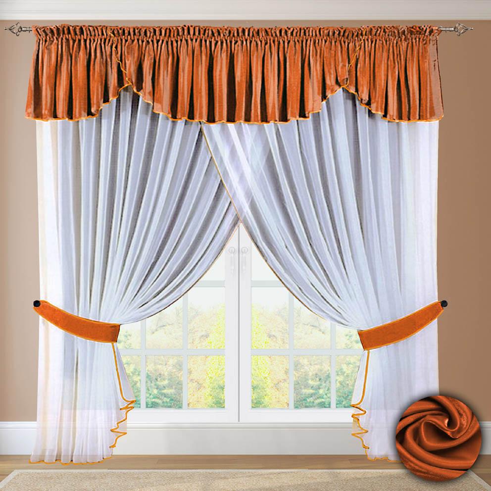 Комплект штор № 052, 250х500+(45х500) оранжевый