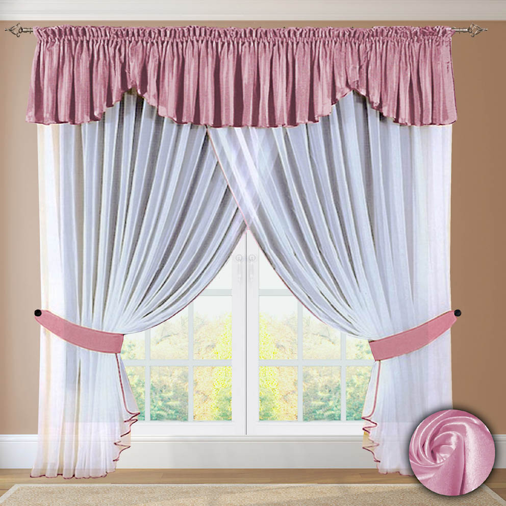 Комплект штор № 052, 250х500+(45х500) розовый