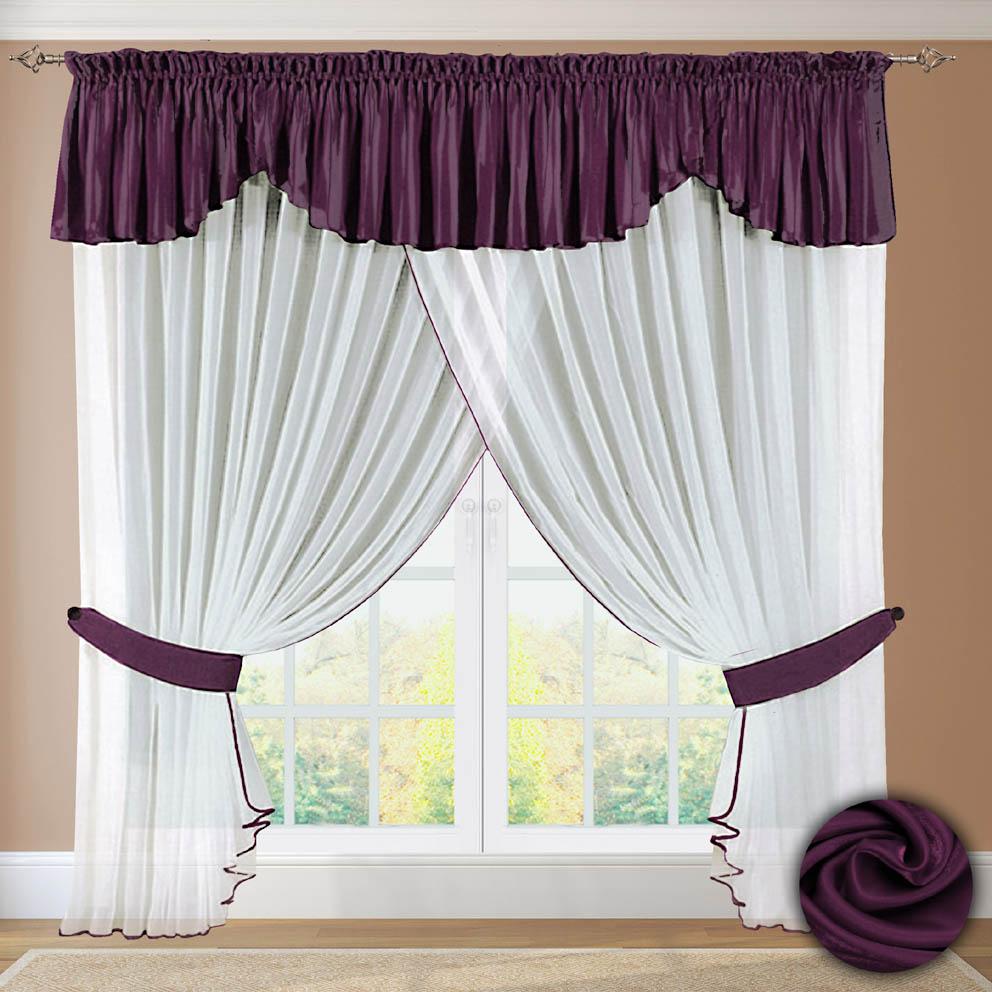 Комплект штор № 052, 250х500+(45х500) фиолетовый