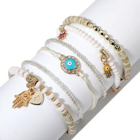Набор из шести тонких браслетов, цвет белый, золот.