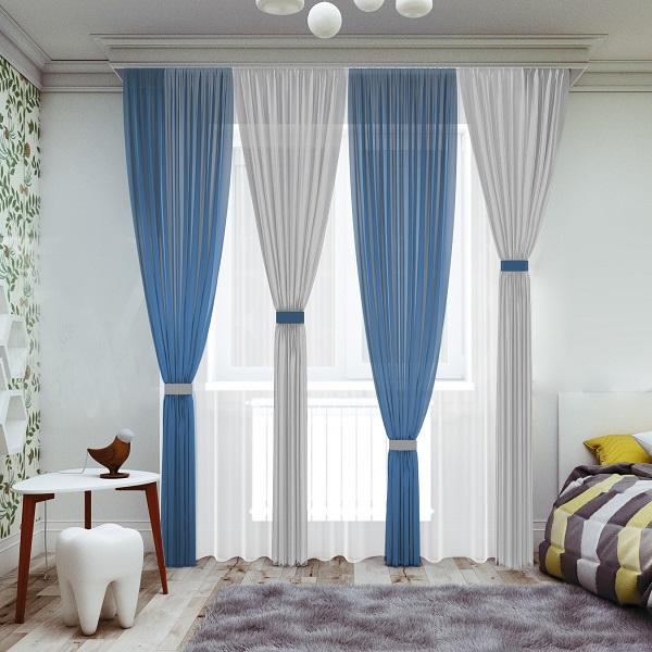 Комплект штор № 065, (270*200)х4 синий/серый