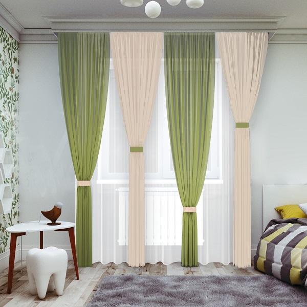 Комплект штор № 065-1, (270*200)х4 зеленый/ваниль