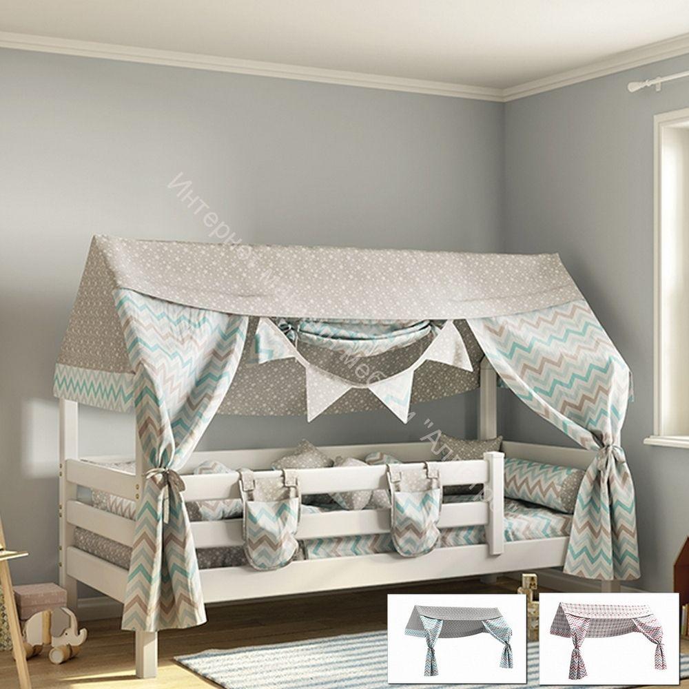 Балдахин для кровати с надстройкой Соня (небесный, коралловый) СТАНДАРТ
