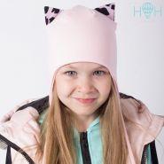 ШВ20-16360490 Двухслойная шапка с ушками леопард, пудра