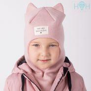 ШД20-67361706 Шапка-шлем демисезонный с ушками кошка и нашивкой You are beautiful, пудра