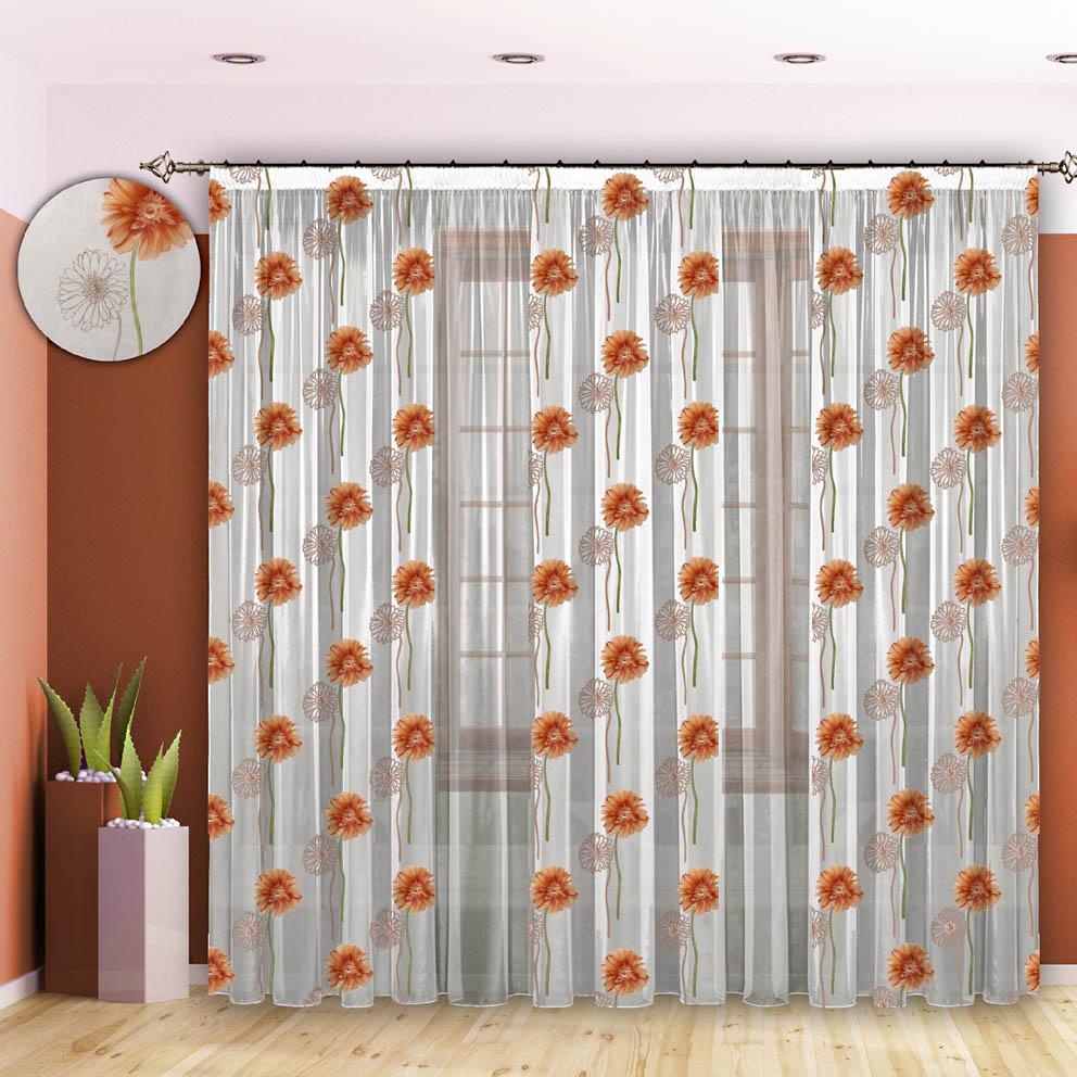 Комплект штор № 090, 270*700 оранжевый (вуаль+вуаль печать с рисунком)