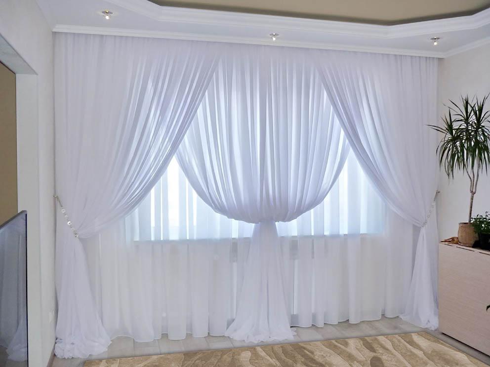 Комплект штор № 092, (270*200)х2(270*400) белый(вуаль)