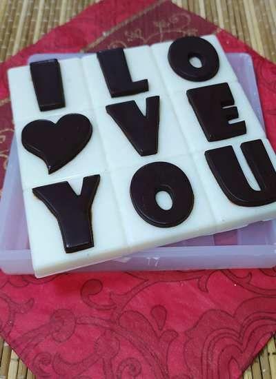 "Силиконовая форма №513 ""Плитка шоколада-I Love You"""