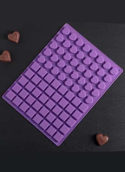 Форма для льда и шоколада Доляна «Сердца в квадрате», 29,5×22×1 см, 80 ячеек