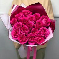 17 малиновых роз 60 см в красивой упаковке
