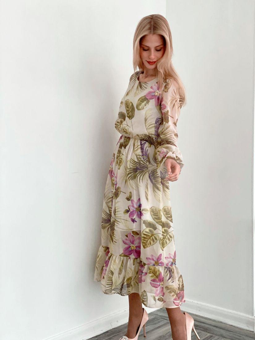 s3718 Платье из французского шифона с цветочным принтом