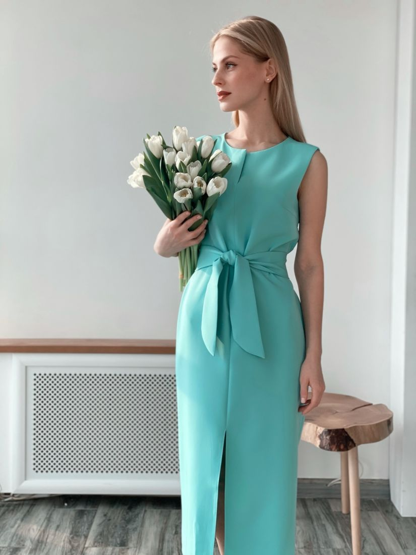 """s3724 Базовое платье в цвете """"ментол"""""""