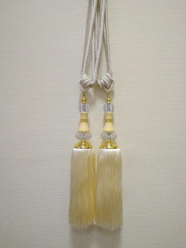 Кисти для штор Ф-14 большие(стеклярус)  крем 36 см кисть + 40 см подхват