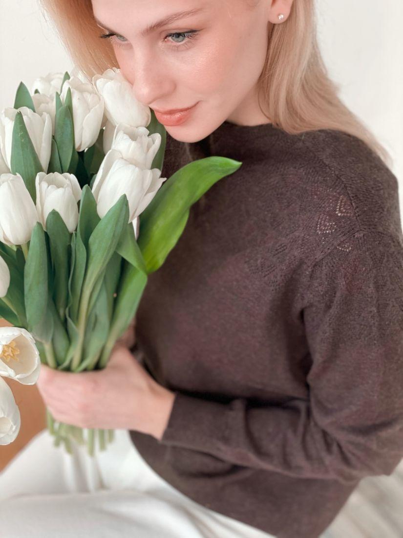 """s3733 Джемпер хлопковый с ажуром в цвете """"шоколад"""""""