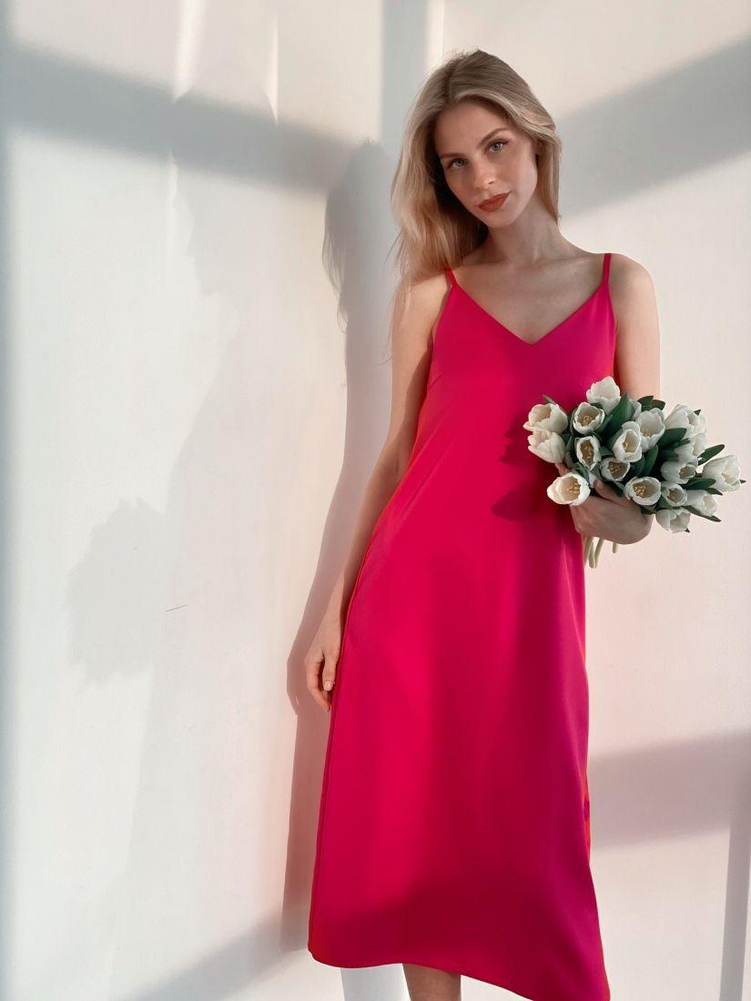 s3734 Платье-комбинация в сочном розовом цвете