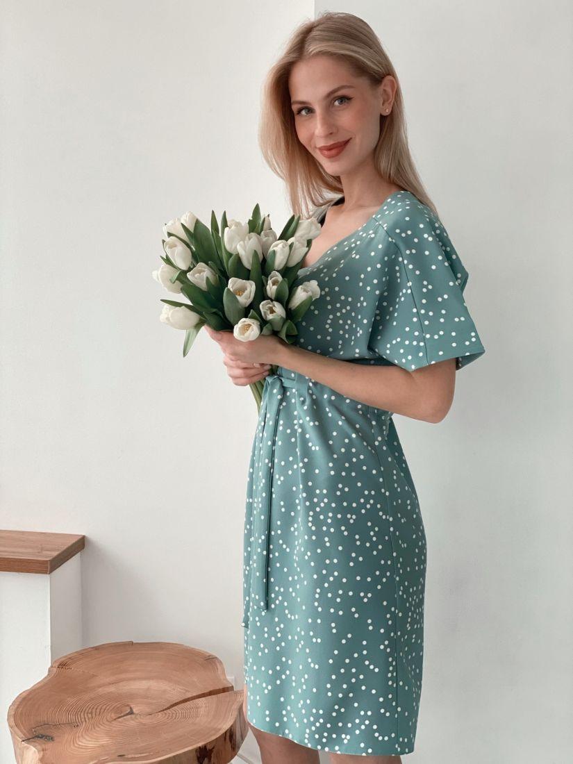 s3736 Платье на кулиске голубое в горох