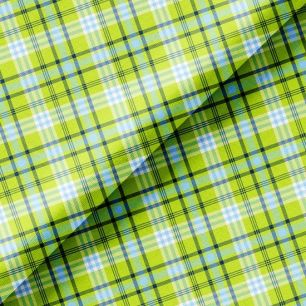 Хлопок Перкаль - Клетка зеленая с голубым 50х37