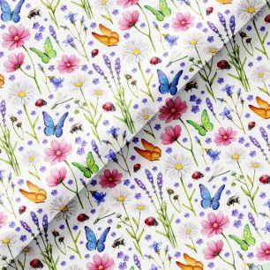 Хлопок Перкаль - Яркие цветы и бабочки 50х37