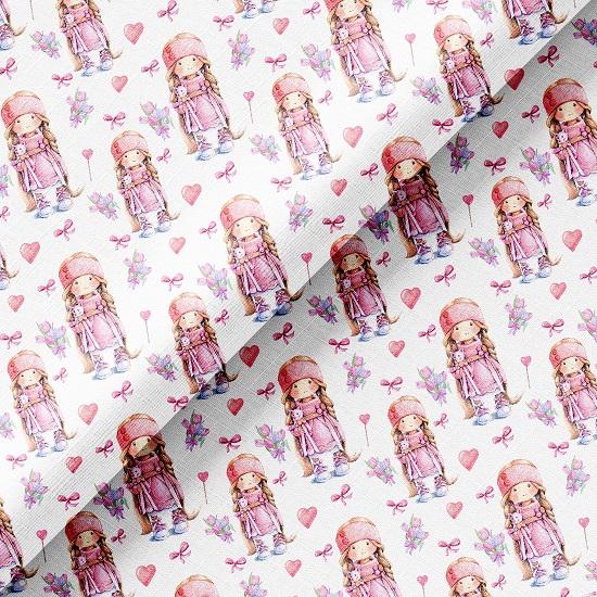 Хлопок Перкаль - Розовые куколки с котиками 50х37