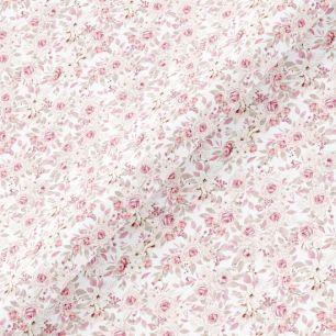 Хлопок Перкаль - Нежные розочки на белом 50х37