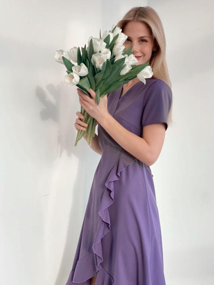 s3738 Платье с запахом в цвете smoky lilac
