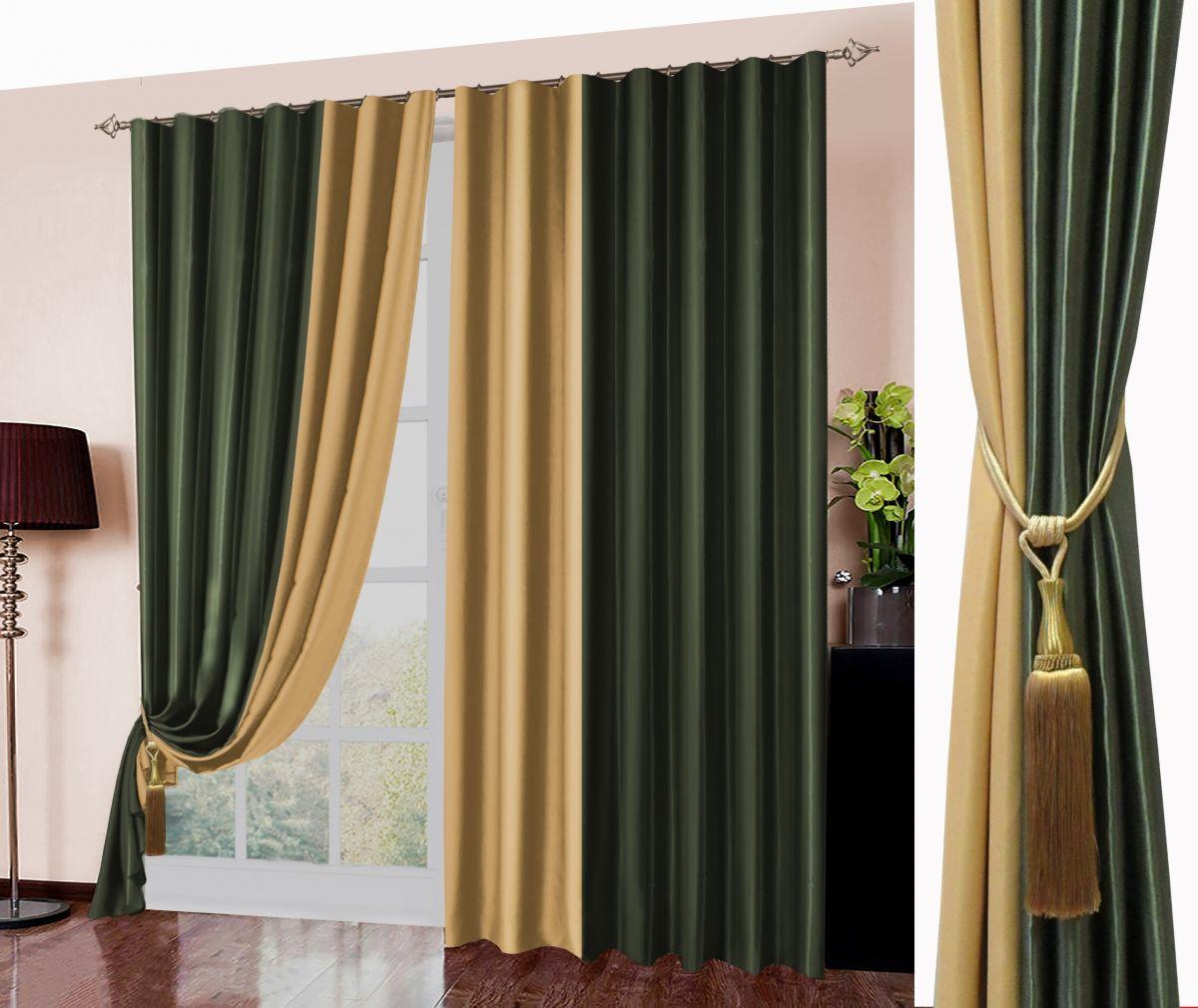 Комплект штор № 026, (270*180)х2, Блэк-аут(комбинированный) зеленый+желтый