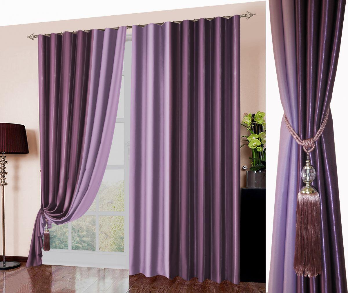 Комплект штор № 026, (270*180)х2, Блэк-аут (комбинированный) фиолетовый+сиреневый