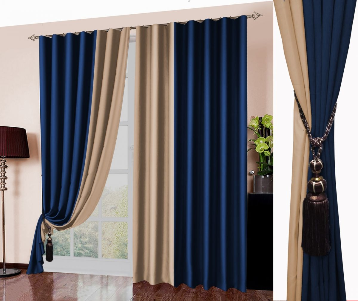 Комплект штор № 026, (270*180)х2, Блэк-аут (комбинированный) синий+беж