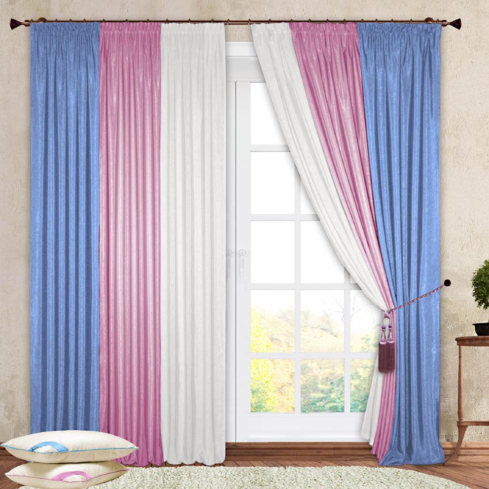 Комплект штор № 029, (270*180)х2, белый/розовый/голубой