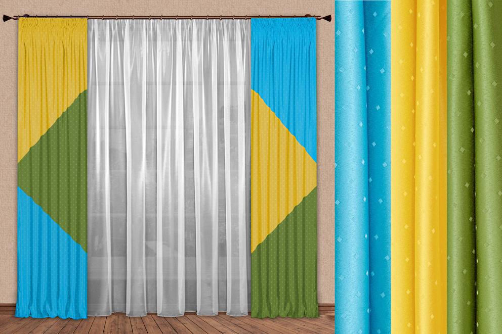 Комплект штор № 106, (270*170)х2, желтый/зеленый/бирюза