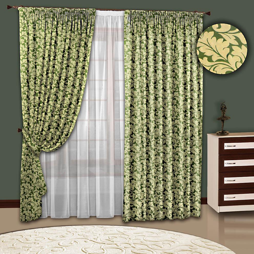 Комплект штор № 108, (200*270)х2(500х270), Блэк-аут(велюр) зеленый с рисунком+ вуаль(белая)