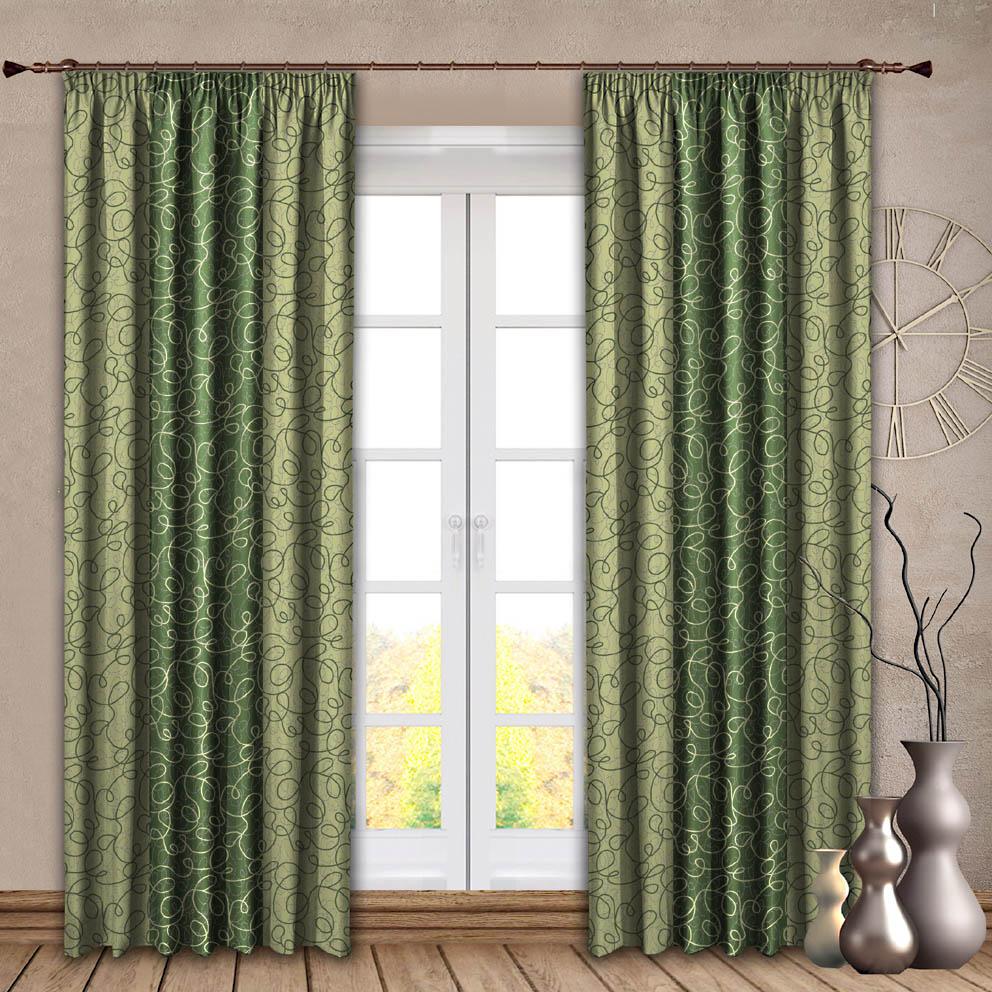 Комплект штор № 121, (270*180)х2, зеленый. Блэк-аут (комбинированный) с рисунком