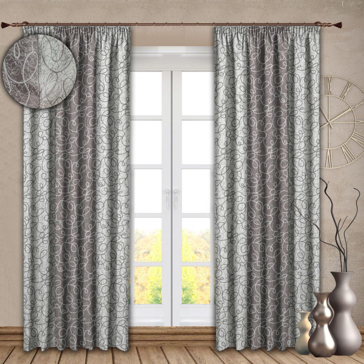 Комплект штор № 121, (270*180)х2, серебро. Блэк-аут (комбинированный) с рисунком