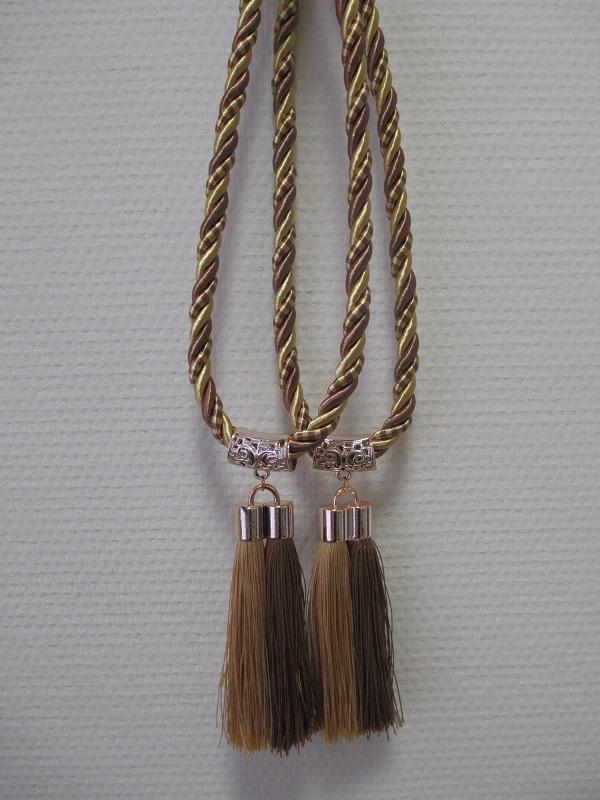 Кисти для штор С-1 (двойная кисть) коричневый+золото (14 см кисть + 32 см подхват)