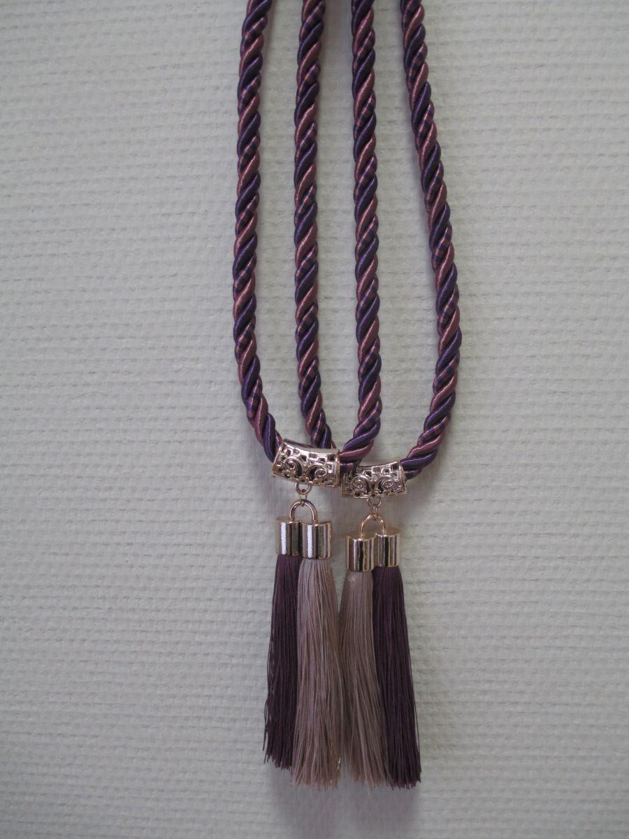 Кисти для штор С-6 (двойная кисть) фиолет+беж (14 см кисть + 32 см подхват)