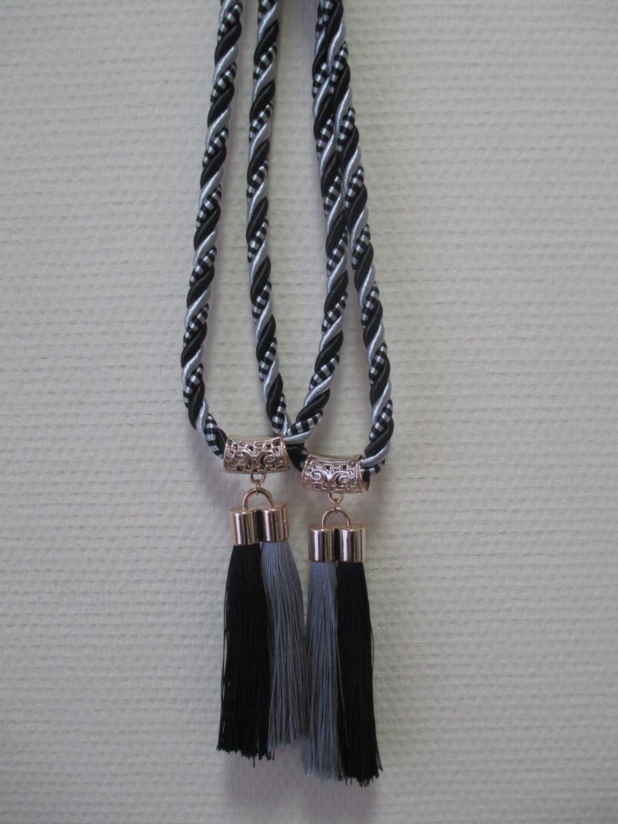 Кисти для штор С-7 (двойная кисть) черный+серебро (14 см кисть + 32 см подхват)