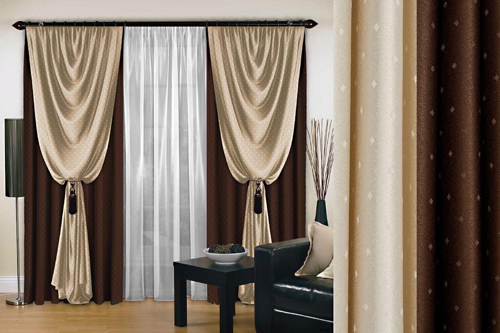 Комплект штор № 128, (250*200)*2, коричневый