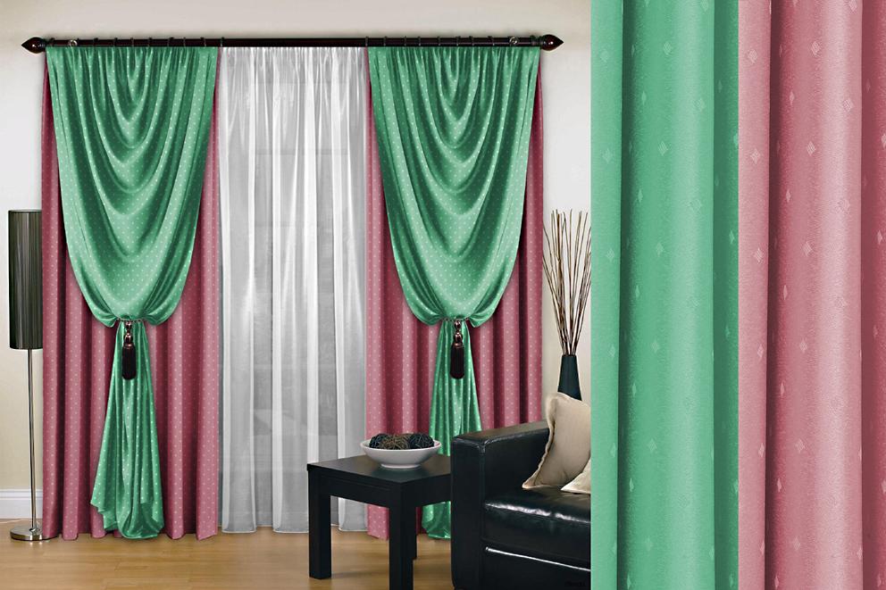Комплект штор № 128, (250*200)*2, розовый-мятный