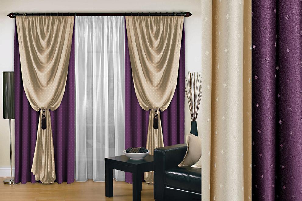 Комплект штор № 128, (270*200)*2, фиолетовый