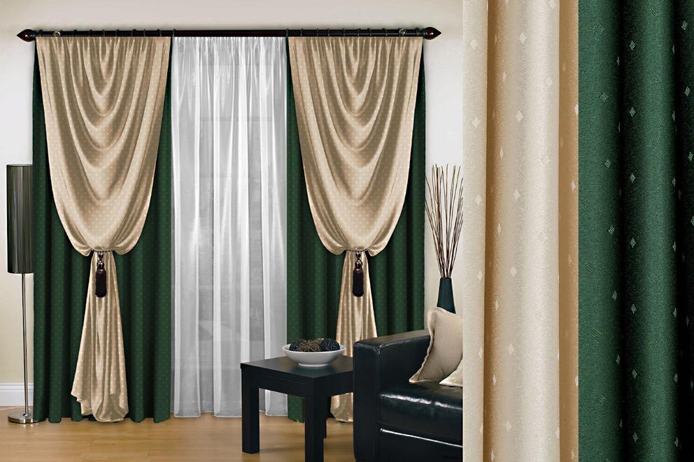 Комплект штор № 128, (270*200)*2, зеленый