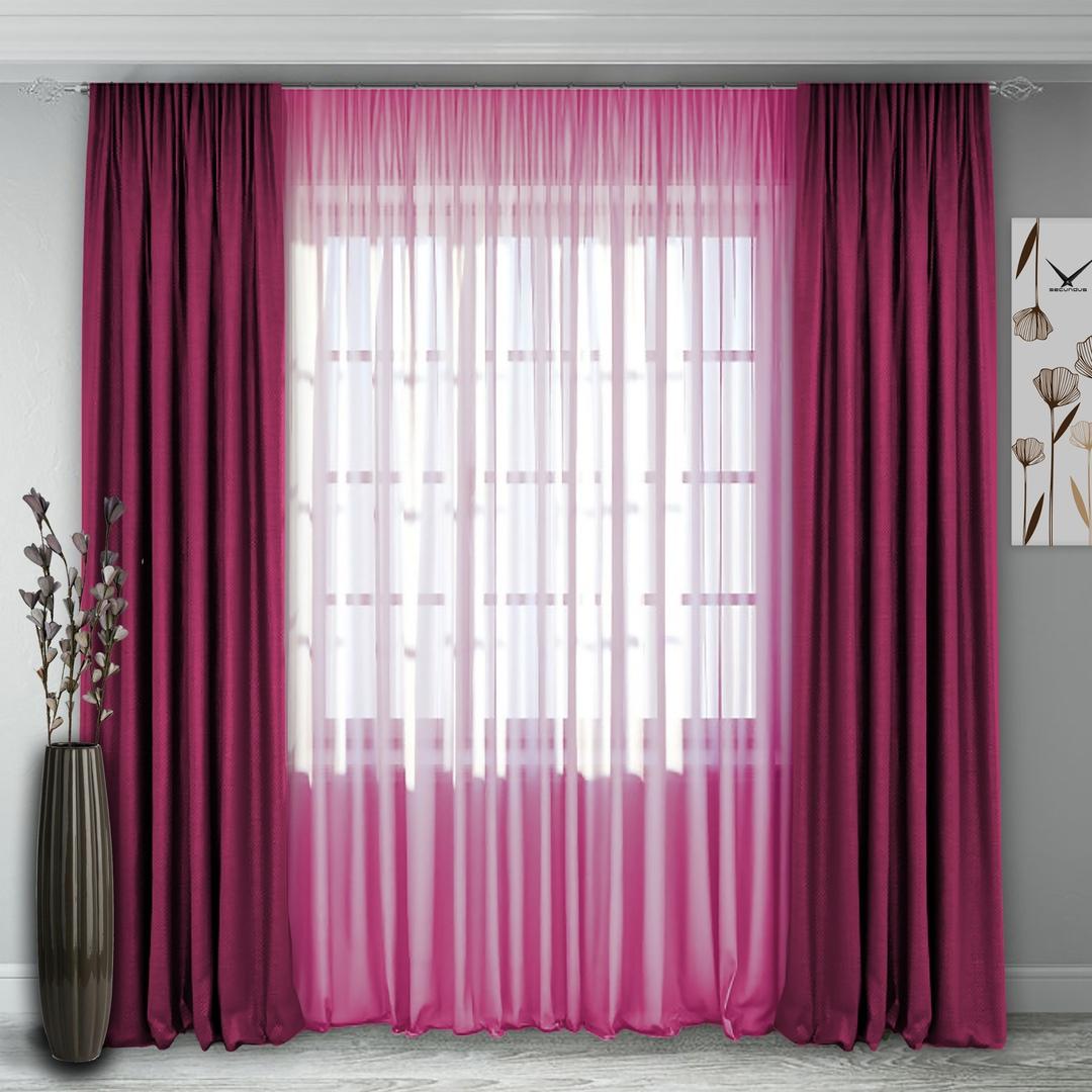 Комплект штор 140, (270*160)х2(270х400) малиново-розовый Блэк-аут +полуорганза малиново-розовый