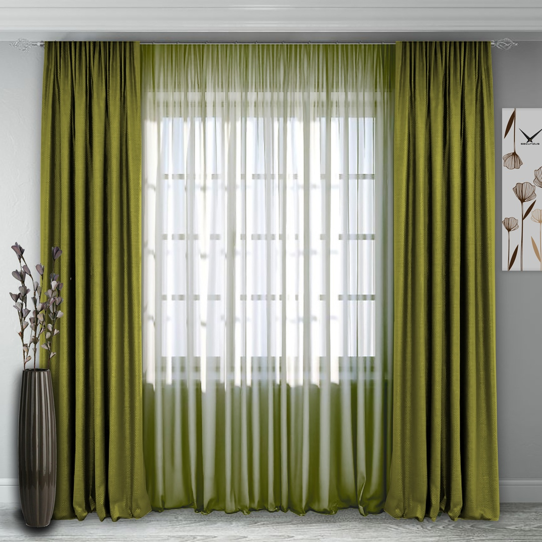 Комплект штор 140, (270*160)х2(270х400) светло-зеленый Блэк-аут +полуорганза светло-зеленый