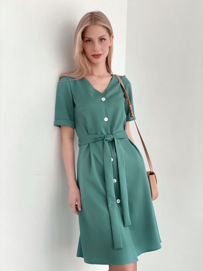 s3743 Платье на пуговичках в приглушённо-зелёном цвете