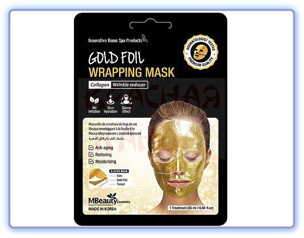 Антивозрастная золотая фольгированная маска для лица MBeauty Gold Foil Wrapping Mask