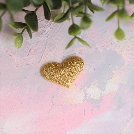 Кукольный аксессуар - Патч сердечко золотое, 1шт